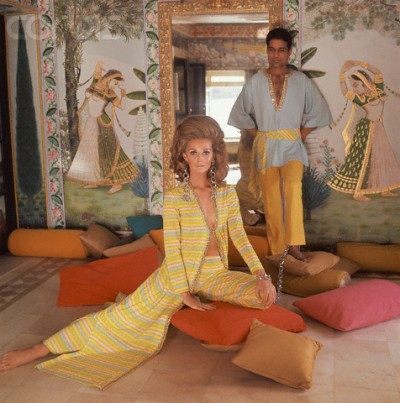 Model in Yellow Striped Caftan and Pants
